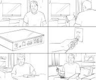 Storyboard über Fernsehen und Technologie Stockfoto