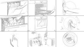Storyboard με τις εγχώριες συσκευές Στοκ Εικόνες
