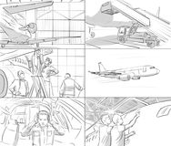 Storyboard with airplane. Pilot and engineers vector illustration