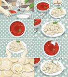 Storyboard with borsch and meat dumplings. In color stock illustration