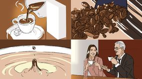 Storyboard with coffe and beans. Storyboard with coffe in a cup and coffee beans vector illustration