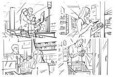 Storyboard con compras de la gente en el ultramarinos fotografía de archivo