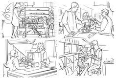 Storyboard con compras de la gente en el ultramarinos foto de archivo