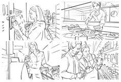 Storyboard con compras de la gente en el ultramarinos imagenes de archivo