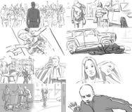 Storyboard für Musikvideo Stockbild