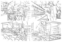 Storyboard of grocery store. Illustration with people shopping at grocery store stock illustration