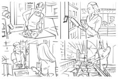 Storyboard of a grocery store interior. Illustration of a grocery store interior with serving counter vector illustration