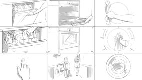 Storyboard with home appliances. Washing clothes and dishes, cooking royalty free illustration
