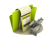 Storyboard icon. With video camera and sheet Stock Photos