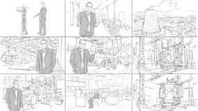 Storyboard industrial de los interiores imagen de archivo