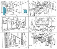 Storyboard with water power plant interior. Storyboard with industrial interior and engines vector illustration
