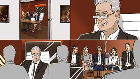Storyboard about job interview. Color storyboard about job interview stock illustration