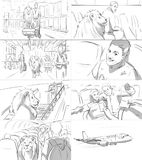 Storyboard with a lion. In the airport royalty free illustration