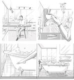 Storyboard about luxurious life. Storyboard about life in luxurious apartment stock illustration