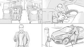 Storyboard with a man in different transport. Electro car, train vector illustration
