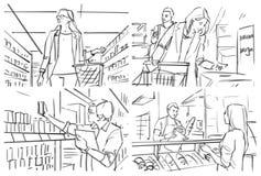 Storyboard med folkshopping p? livsmedelsbutiken arkivbild