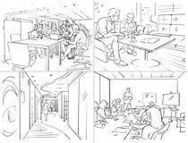 Storyboard med kontorsliv royaltyfria bilder