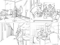 Storyboard med kontorsliv arkivfoto