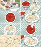 Storyboard mit Borschtsch- und Fleischmehlklößen Stockbild