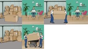 Storyboard mit einem Arbeitsplatz und einem Lagerhaus Stockfotos