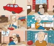 Storyboard mit einem kleinen Jungen, der ein Auto spielt Lizenzfreie Stockfotos