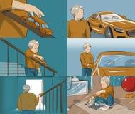 Storyboard mit einem kleinen Jungen, der ein Auto spielt Lizenzfreie Stockbilder