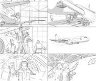 Storyboard mit Flugzeug Stockbilder