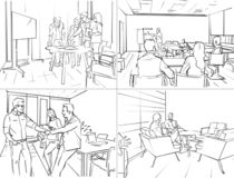 Storyboard of office life. Illustration with everyday office life royalty free illustration