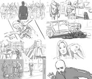 Storyboard for music video. Storyboard for a rap music video stock illustration