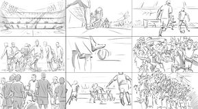 Storyboard with soccer players. On a stadium stock illustration