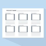 Storyboard template on blue. Storyboard template in form of a film. Scenario for media production. Flat vector cartoon illustration. Objects isolated on a white Royalty Free Stock Photos
