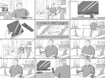 Storyboard about tv and technology. With middle aged man stock illustration