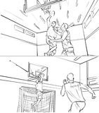 Storyboard of two men playing basketball. Illustration of two men playing basketball royalty free illustration