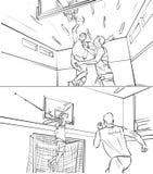 Storyboard von zwei Männern, die Basketball spielen Lizenzfreies Stockfoto