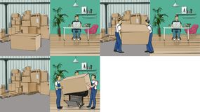 Storyboard with a workplace and a storehouse. Storyboard with a man at his workplace and storehouse royalty free illustration