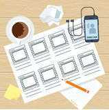 Storyboard writer workplace. Storyboarding process image. Flat vector cartoon illustration. Objects isolated on a white background Royalty Free Stock Photo