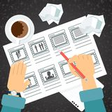 Storyboarding procesu ręka Fotografia Stock