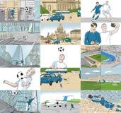 Storyboards con los jugadores de fútbol Imágenes de archivo libres de regalías