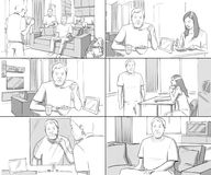 Storyboards couple homelife. Breakfast shaving vector illustration