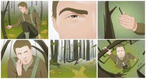 Storyboards de la caza ilustración del vector