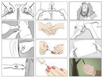 Storyboards för handgester Arkivfoto