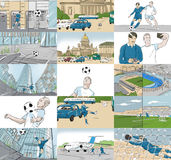 Storyboards with soccer players. In different locations vector illustration
