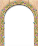 Storybook arch border. An illustration of a fairy tale arch adorned by flowers royalty free illustration
