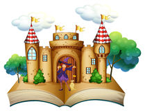 A storybook with a castle and a witch Stock Photography