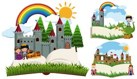 Storybook with fairytale characters and castles. Illustration Stock Image