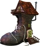 Storybook Fairytale Shoe House Isolated stock image