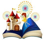 A storybook with a flying fairy near the castle with fireworks vector illustration