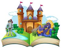 Storybook with knight and dragon royalty free illustration