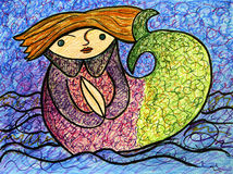 Storybook mermaid. Illustration of a half mermaid, half child, in long sleeve shirt, with green tail, sitting in a big puddle of water Royalty Free Stock Image