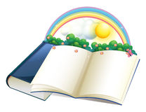 A storybook with a rainbow and plants Royalty Free Stock Images